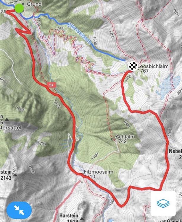Loosbühelalm Gipfelrun - Streckenverlauf