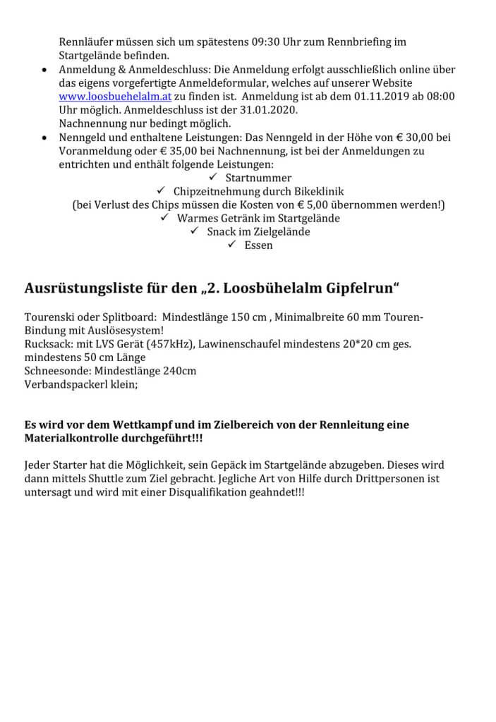 Teilnahmebedingungen - Loosbühelalm Gipfelrun 2020